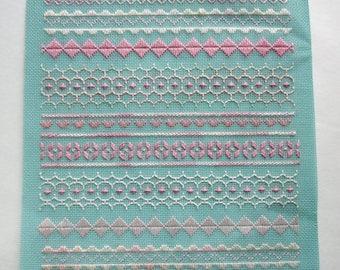 ON SALE- vintage cross stitch needlepoint sampler mint green and pink - not framed