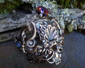 Gothic Steampunk Silver Plated Mermaids Cuff Bracelet Size 7
