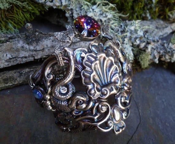 Gothic Steampunk Silver Plated Mermaids Cuff Bracelet Size 7