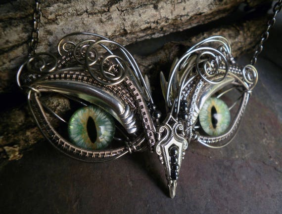Gothic Steampunk Baby Owl with Mint Green Eyes