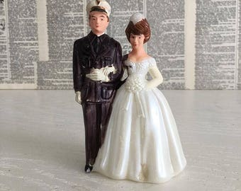 Vintage military Wedding cake topper Navy - Air Force - Marines 1960s