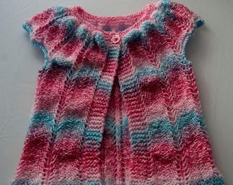 Christmas In July Handknitted Girls Sleeveless Cardigan for a 12 month child