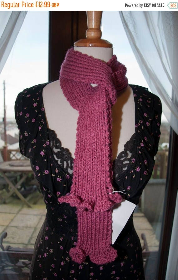 Christmas In July Handknitted Scarf in Pink Yarn