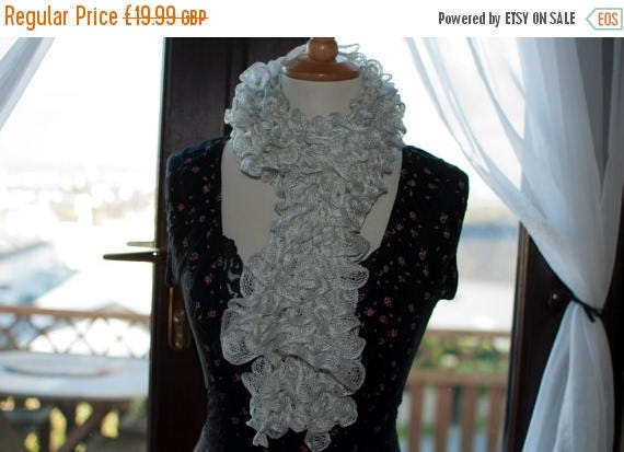 Christmas In July Handknitted Ruffles Scarf in White
