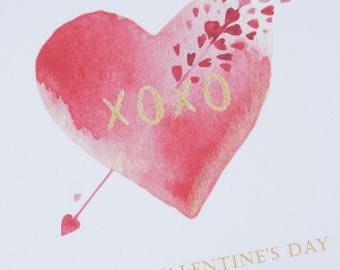 Valentine's Day Cards, Set of 5, Valentine Cards, Flat Note Cards, Watercolor Card, Valentine, Heart, Valentines, Pink, Valentines Card