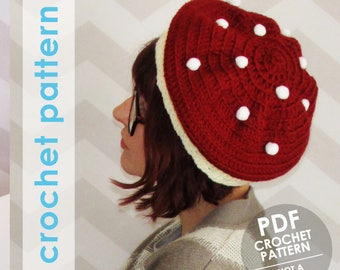 crochet hat pattern, slouchy hat, slouchy hat crochet pattern, crochet mushroom, mushroom hat, toadstool, mori girl, pom poms, fall, autumn