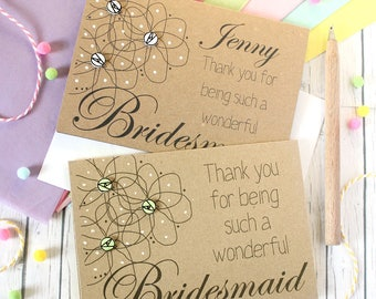 Personalised Bridesmaid Card. Personalised Bridesmaid Thank You Card. Thank You for being my Bridesmaid. Bridesmaid Thanks. Bridesmaid Card.