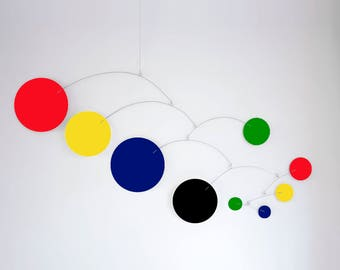 MOD MOBILE in Multi Bold Colors - 3 SIZES Available - Groovy Retro Mid Century Calder Inspired Hanging Modern Art - Home Decor Mobiles