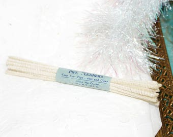 Vintage pipe cleaners white creme christmas