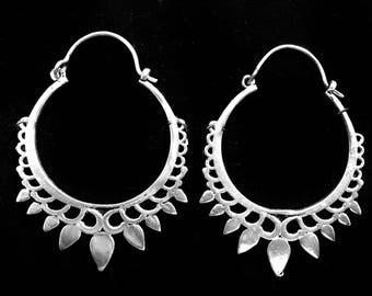 Large Silver Hoop earrings,Bohemian Jewelry,Sun drop Silver hoops,BOHO EARRINGS,Tribal Brass earrings,minimalist earrings