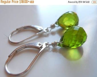 QUICKIE SALE 15% OFF, Bright Green Teardrop Earrings, Simple Peridot Green Quartz Teardrop Earrings, faux birthstone, gift idea,