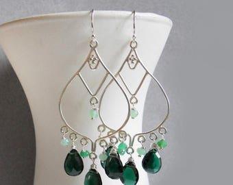 XMAS IN JULY 20% off, Dark Green gemstone Chandelier earrings , tourmaline green quartz earrings, chrysoprase, sterling silver, style: meado