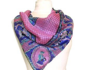 Large Vintage SILK Scarf - Purple and Pink Scarf in and East Indian Motif / Paisley Border / Vintage Silk Scarf with Rolled Hem