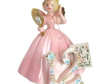 Vintage Ceramic 12th Birthday Angel Figurine / Pink Party Dress / Looking in Hand Mirror / Signed Josef Originals / Early Years with Tags