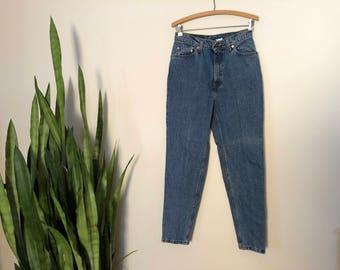Vintage Levi's 512 Blue Jeans High Waist Skinny Denim 80s Mom Jeans Medium Wash