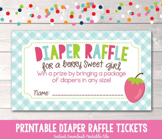 Berry Sweet Printable Diaper Raffle Ticket For Girls Baby Shower