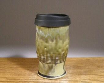 20 oz , Handmade Pottery, Ceramic Travel Mug , Commuter Mug , Pottery Travel Mug , Pottery To Go Mug , with Reusable Silicone Lid