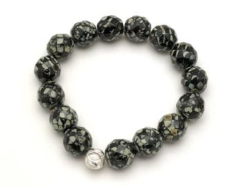 Black Snakeskin Minimalist Beaded Bracelet Sterling Silver   For Her or Him Unisex Under 50 Free Gift Wrap