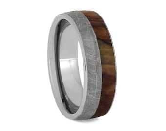 Petrified Wood Wedding Band, Gibeon Meteorite Ring With Titanium Sleeve, Unique Men's Wedding Band