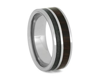 Crushed Obsidian Wedding Band With Ironwood, Men's Tungsten Ring, Wood Ring With Titanium Pinstripe