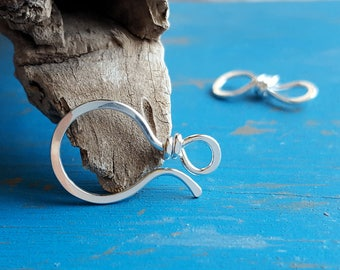Large Clasp, Hook and Eye Clasp, 18g Classic II, Hammered, Distressed, Choice of Silver Filled, Sterling Silver, Copper