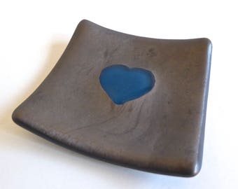 Small Glass Ring Dish in Steel Blue and Silver by BPRDesigns