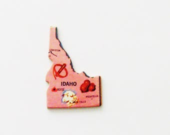 1961 Idaho Brooch - Pin / Unique Wearable History Gift Idea / Upcycled Vintage Wood Jewelry / Timeless Gift Under 25