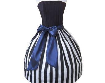 Sample Sale Size Medium Tim Burton Inspired Dress Striped Black and White