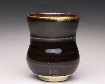 handmade pottery cup, ceramic tea cup, tumbler with black tenmoku and green celadon glazes