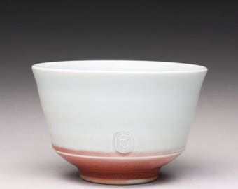 handmade porcelain tea bowl, matcha chawan, ceramic bowl with turquoise celadon and bright red glazes