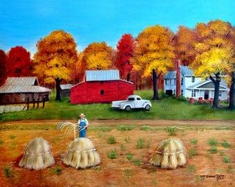 Harvester, Wheat harvest, Folk Art Prints, Primitive Print, Farm House, Country Scene, Fall Autumn, Red Barn, Arie Reinhardt Taylor