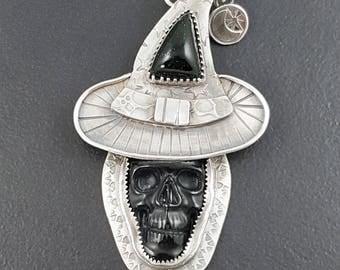 Skull Witch Necklace, witch, moon, skull, sterling silver, Halloween, spooky, halloween jewelry, witch jewelry, skull jewelry, black onyx
