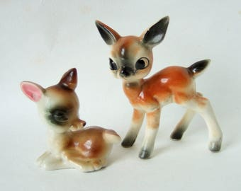 Vintage Kitsch China Deer - Two Little 1960s Bambi Figurines