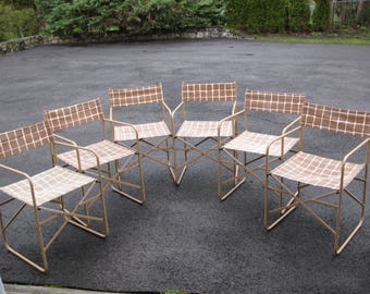 Vintage Metal Folding Director Chair Lot Set of 6 Animal Skin Canvas For Pick Up Only