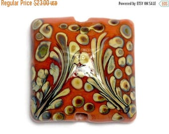ON SALE 35% OFF Coral w/Beige Pillow Focal Bead - Handmade Glass Lampwork Bead 11811704
