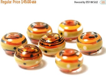 ON SALE 35% OFF Seven Citron Stripes Rondelle Beads - 11008001 Handmade Glass Lampwork Bead Set