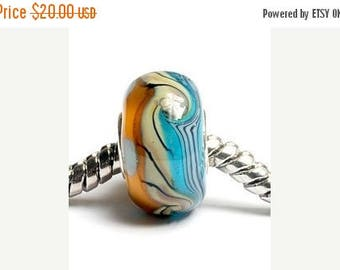 ON SALE 30% off Glass Lampwork Beads - Large Hole Blue w/Brown Rondelle Bead  - SC10006