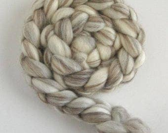 BFL Wool Roving, Ecru Spinning or Felting Fiber, Undyed, 4 ounces