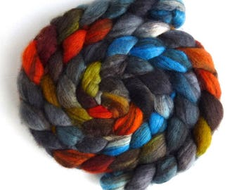 Mixed BFL Wool Roving, Hand Painted Spinning or Felting Fiber, 4 ounces, Campfire Night