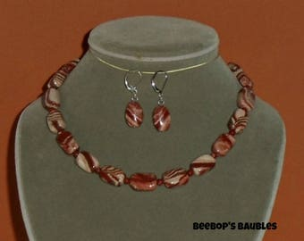 Rustic Red Striped Jasper Nugget Choker Necklace with Matching Earrings
