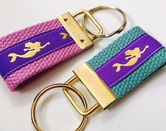 Mermaid KeyFob Purple and Gold Foil Mermaid Keychain Mermaid Lip Balm Case Mermaid Wrist Fobs Gold Mermaid Beach Accessory Mermaid Key