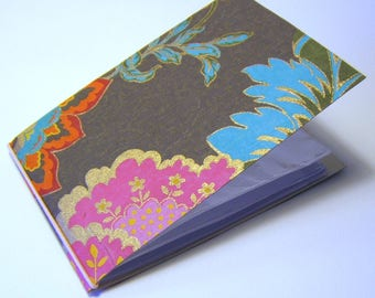 mini photo album - fuschia floral and brown with gold accents