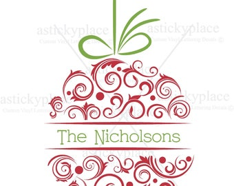 Christmas Bulb Ornament For Personalization, Customize, Digital Cutting File, Svg, Eps, Png, JPEG, Print File
