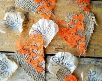 Burlap Wedding confetti, Burlap table scatter, Orange wedding Confetti, Burlap Decor, Aisle rose petals, fall wedding,  flower girl petals