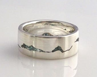 Glacier Mountain Ring, 8mm band, Handcrafted Gemstone Inlay, Handcrafted Recycled Silver, Gold, Palladium, Platinum, Mountain Wedding Band