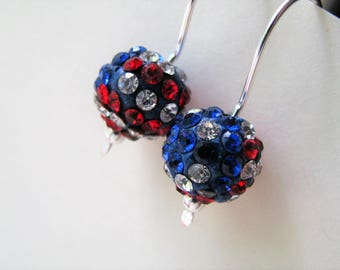 4th of July Earrings, Red, White and Blue Pave Earrings, Patriotic Earrings, Red White n Blue Silver Earrings