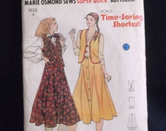 Ladies skirt/waistcoat Butterick 'Super Quick' 6655 - endorsed by Marie Osmond - 1970s
