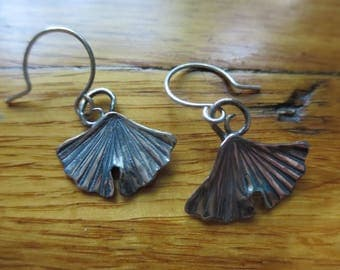 Sterling Silver Brutalist Medium Ginkgo Leaf Earrings.