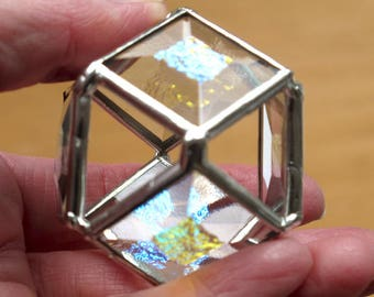 Cuboctahedron - One of a kind handmade - Beveled and Dichroic Glass - Desk Decoration and Fidget Toy