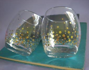 Toasting Glasses, Gold Dots , Low Ball, Tasting Glasses, Vintage Glasses